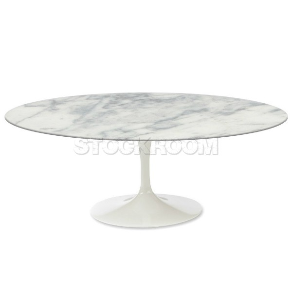 Oval Tulip Coffee Table: Tulip Style Oval Coffee Table - Marble - White